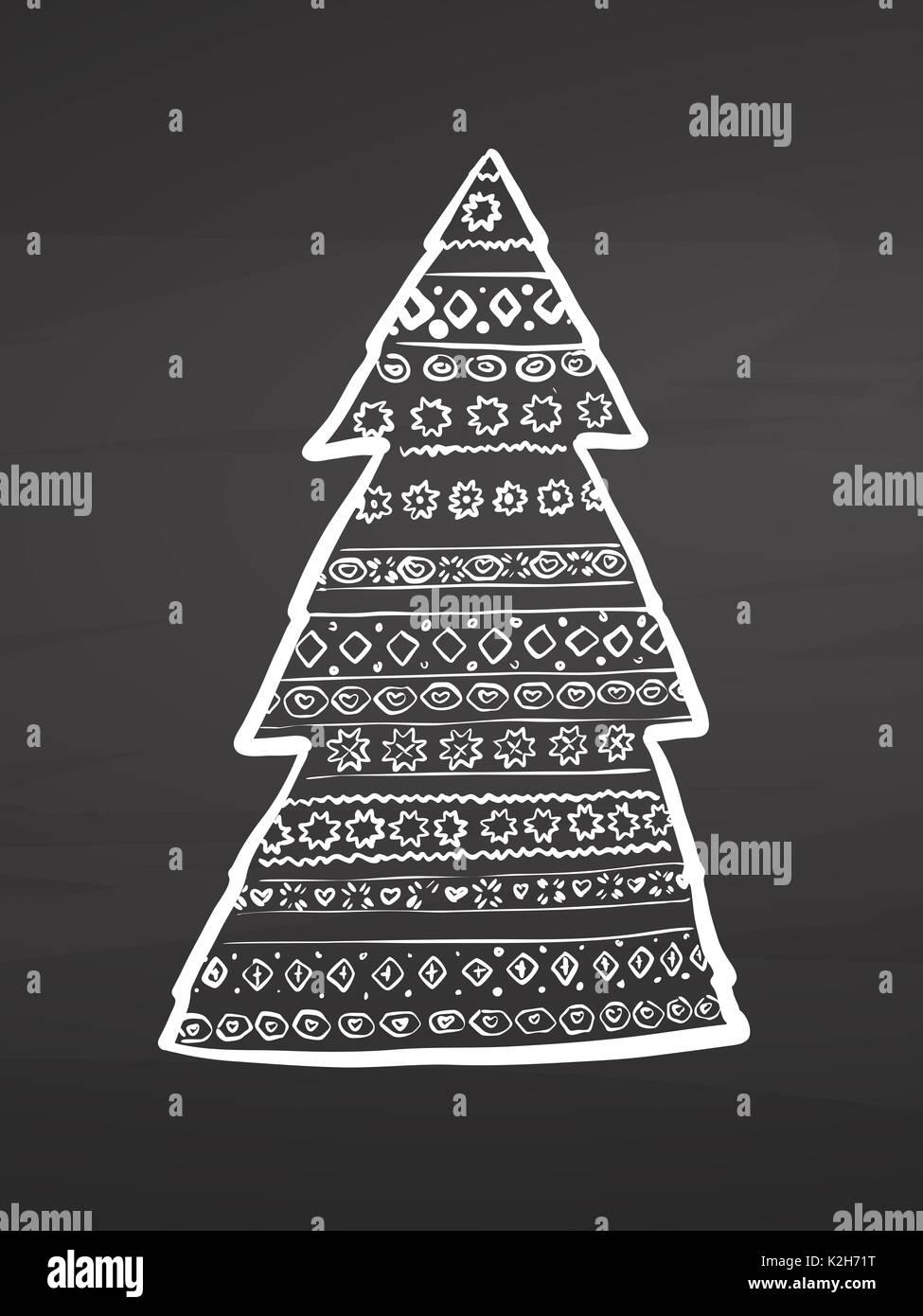árbol De Navidad Dibujos En Pizarra Dibujo Vectorial Handdrawn