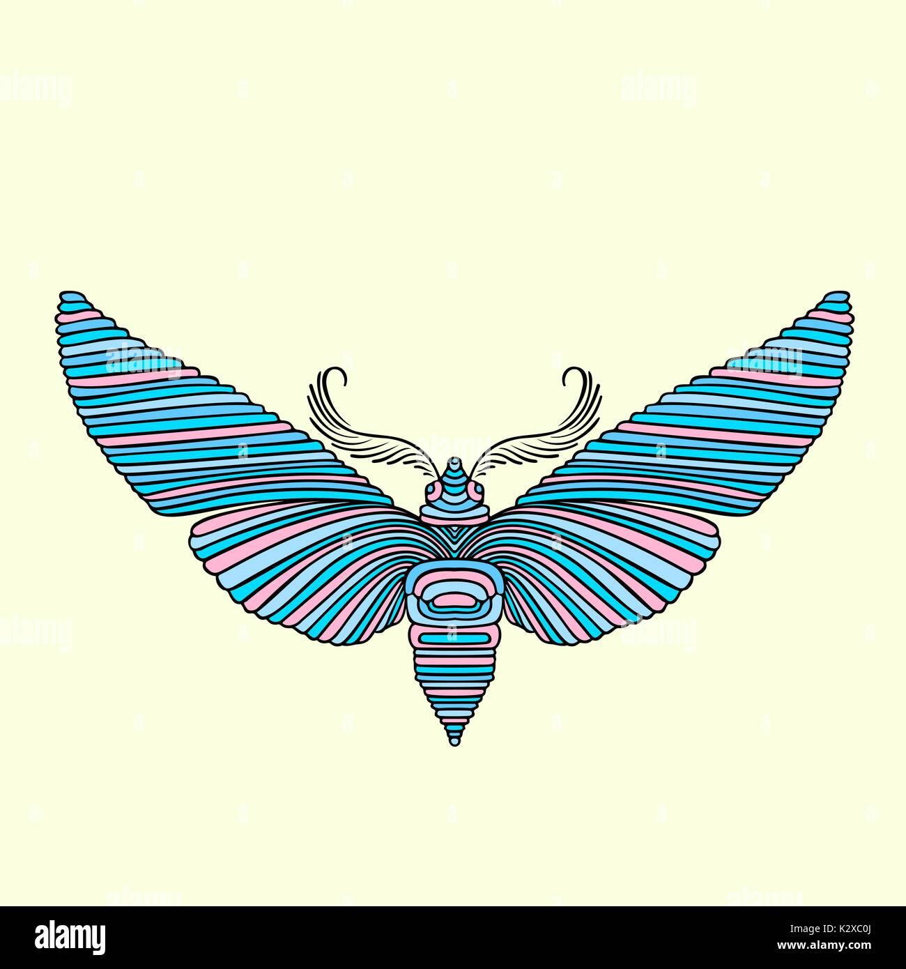 Libro para colorear de mariposas nocturnas para adultos. Ilustración ...
