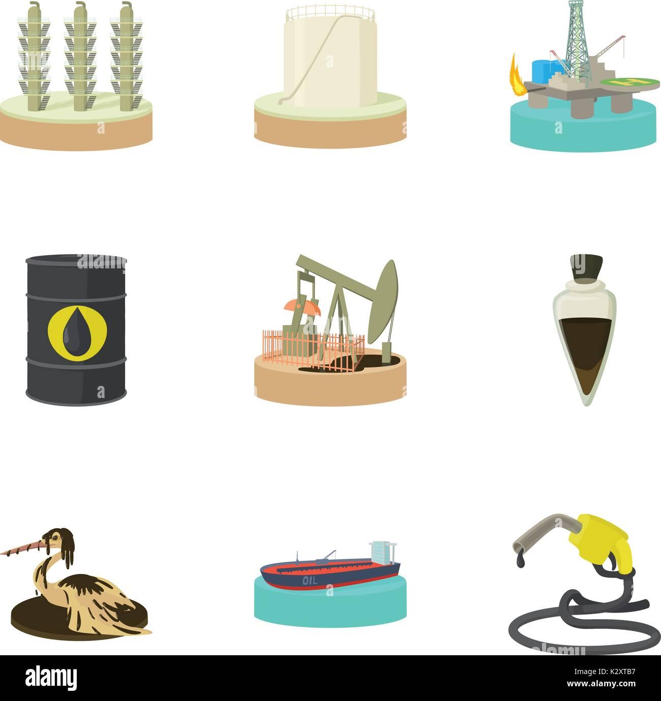 La Contaminación Por Petróleo Conjunto De Iconos De Estilo De