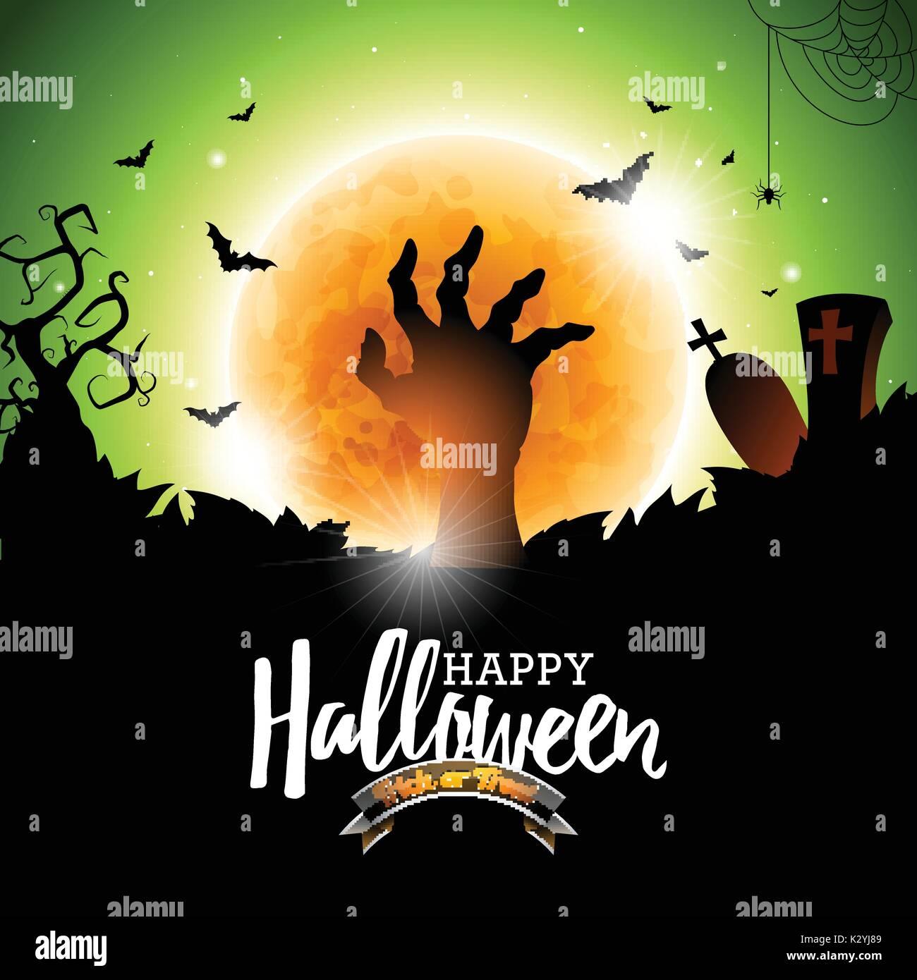 Feliz Halloween Ilustración Vectorial Con Murciélagos