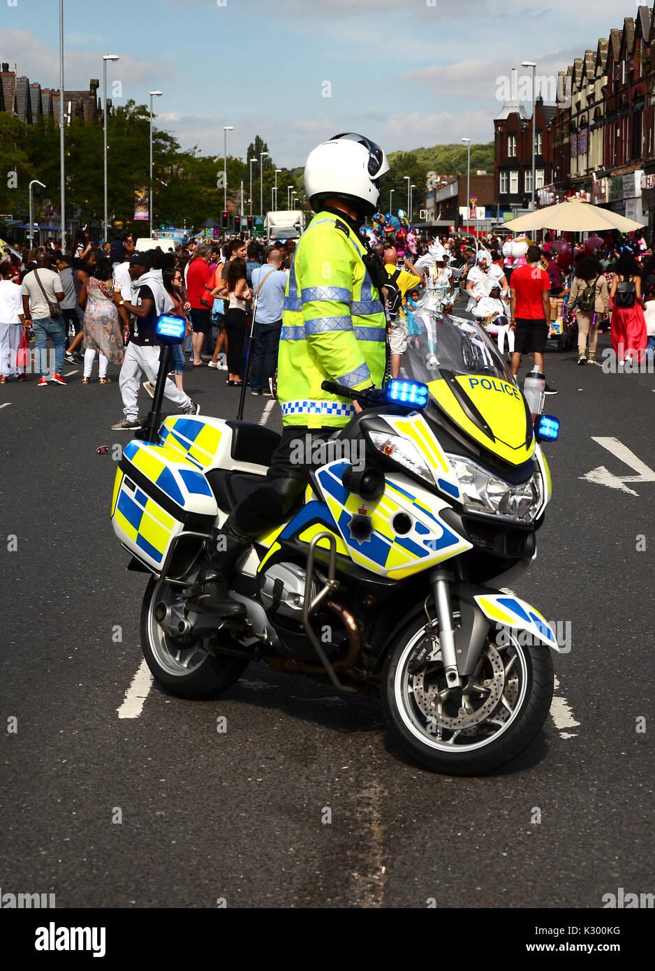 Motocicleta de la policía en el incidente Imagen De Stock