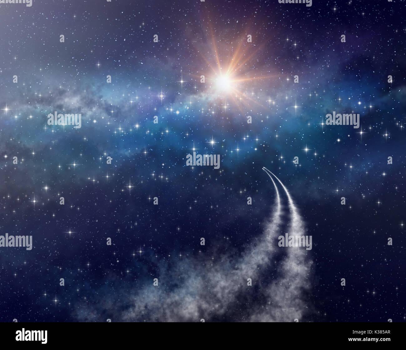 Las naves espaciales explorando el espacio profundo, hacia un cúmulo de estrellas. Imagen De Stock