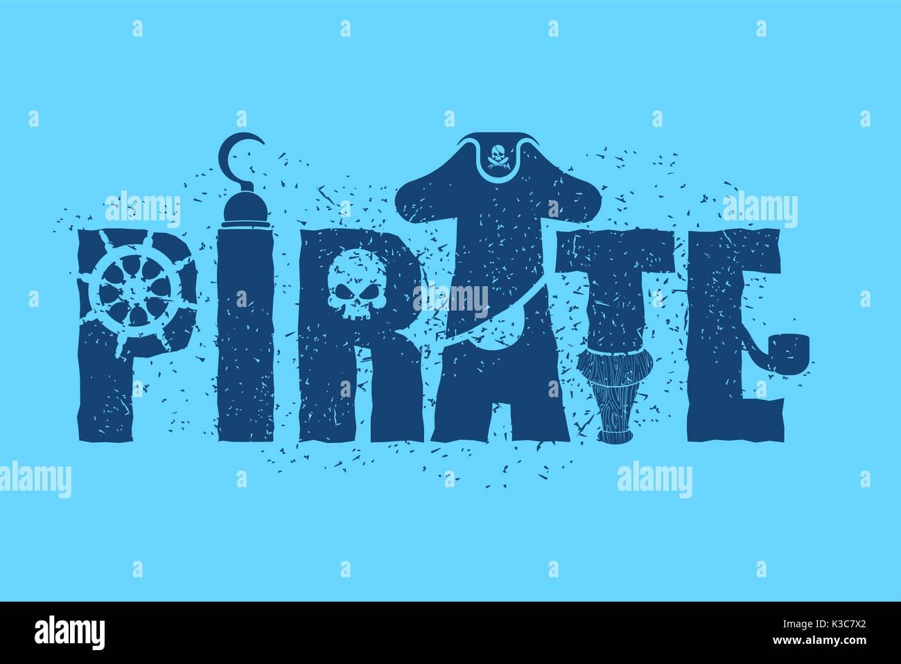 Tipografía Pirata Firmar Letras Y Parche En El Ojo Filibustero