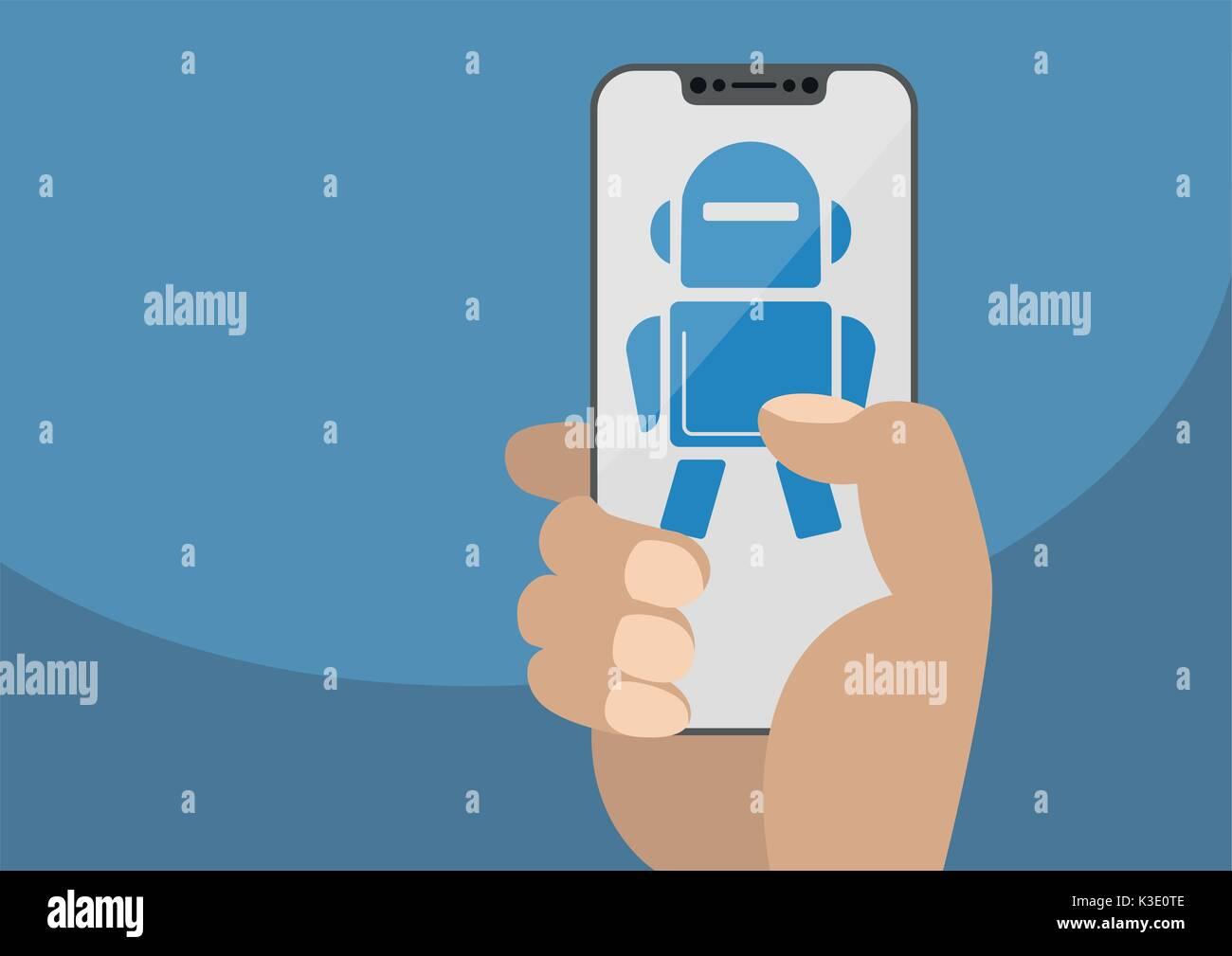 Mano sujetando el bisel moderno smartphone libre. Muestra el icono del robot en la pantalla táctil como concepto Ilustración del Vector