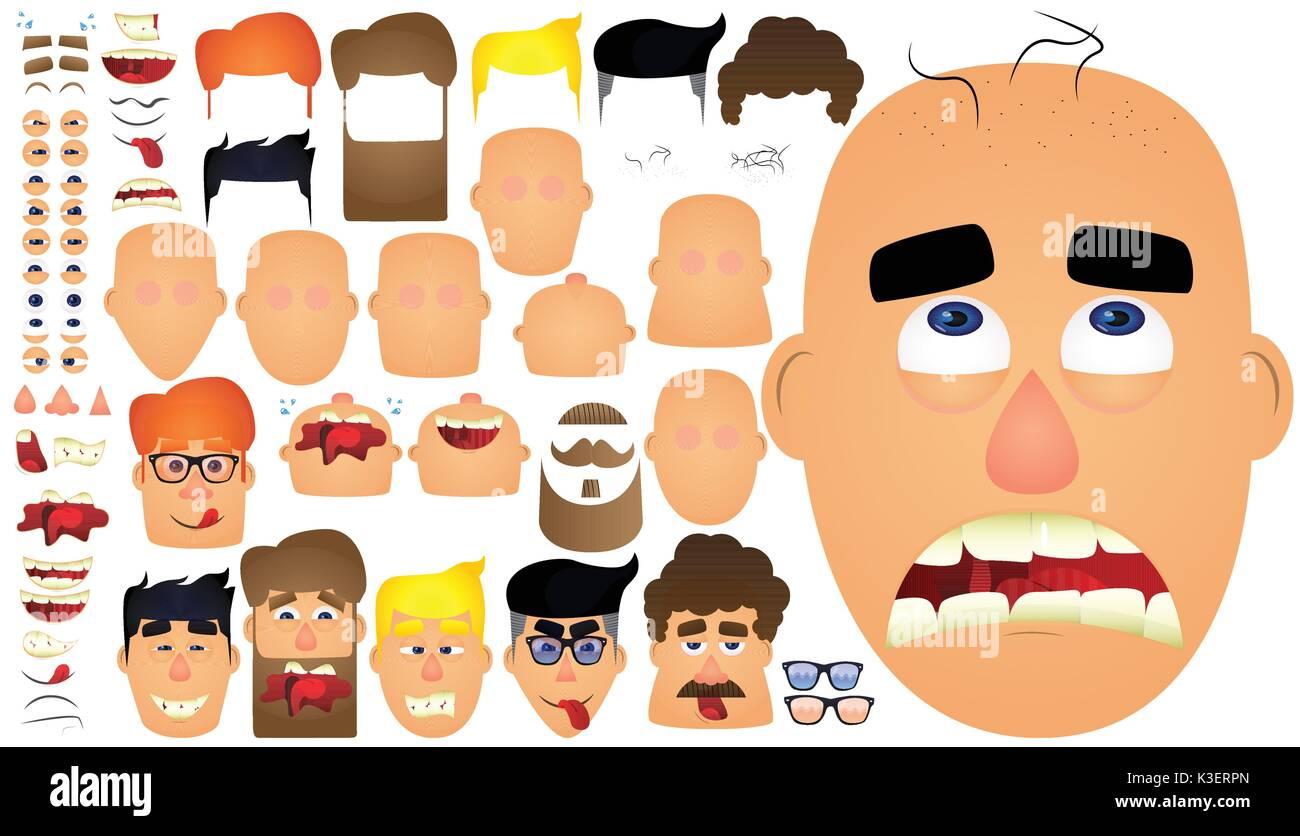 Cartoon rostro masculino caracteres para su plantilla. Gran conjunto de emociones, expresiones faciales. Ilustración vectorial. Imagen De Stock