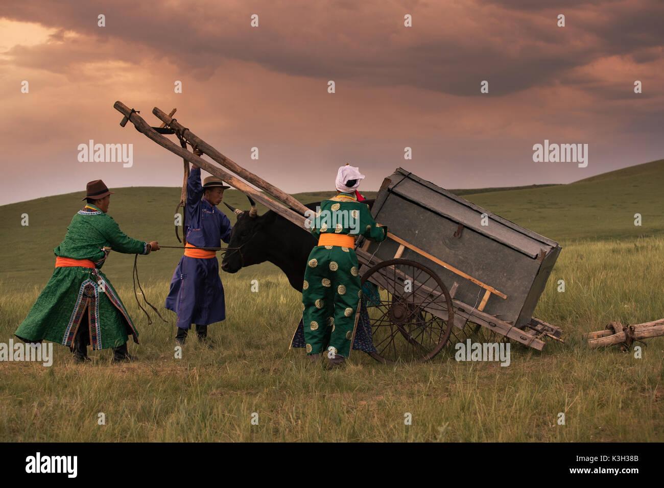 Mongolia interior, China-Julio 31, 2017: los pueblos nómadas de Mongolia Preparar el carro de vacas en el prado. Imagen De Stock