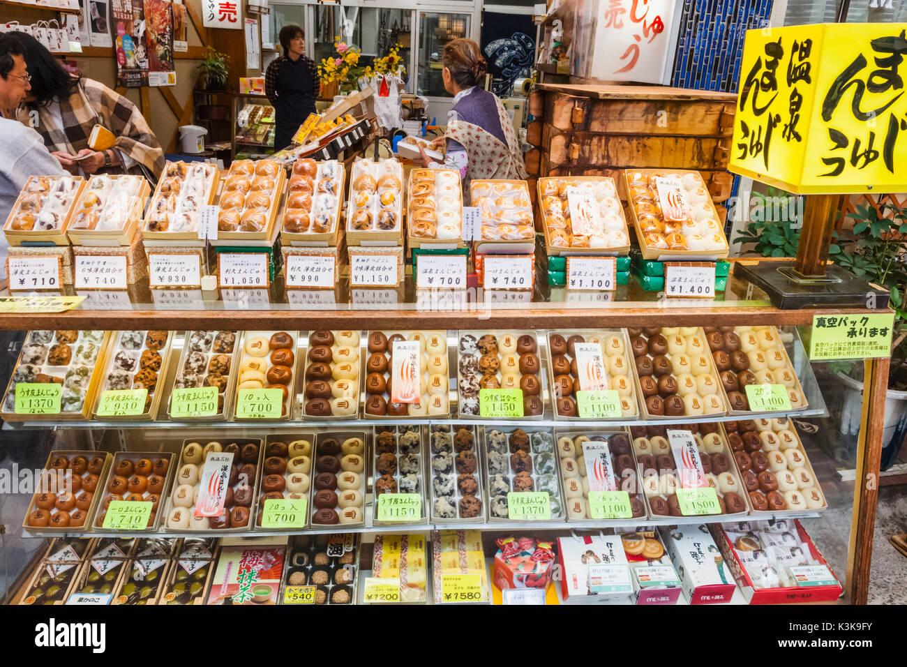 Japón, Hoshu, Prefectura de Shizuoka, Atami, Tradicional Pastelería Escaparate Foto de stock