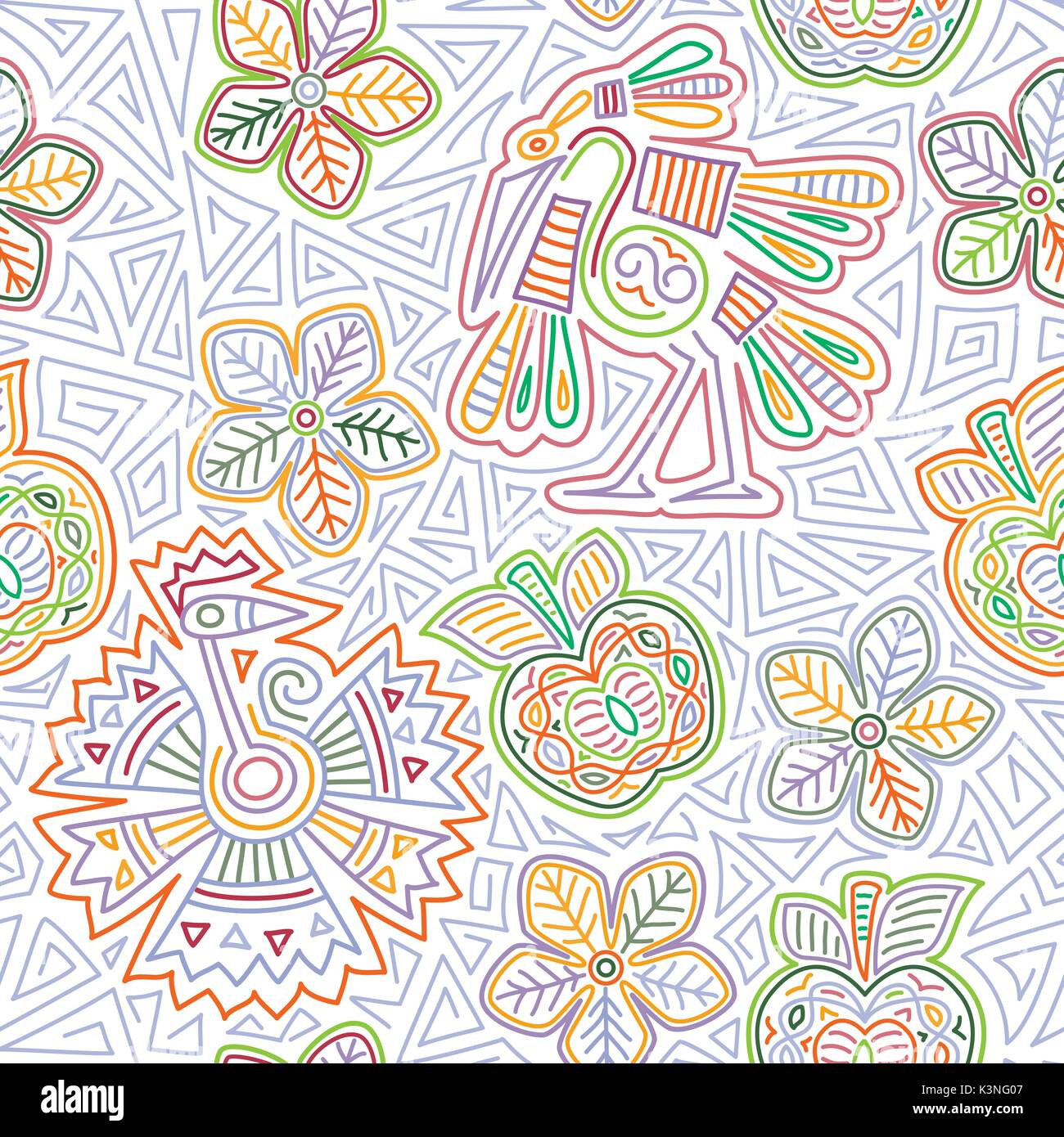 Vector Mexican Embroidery Seamless Pattern Imágenes De Stock ...
