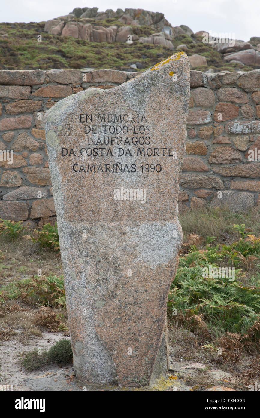 Naufragio Memorial, Cementerio Inglés, trece cabeza; Costa de la Muerte; Galicia; España Imagen De Stock