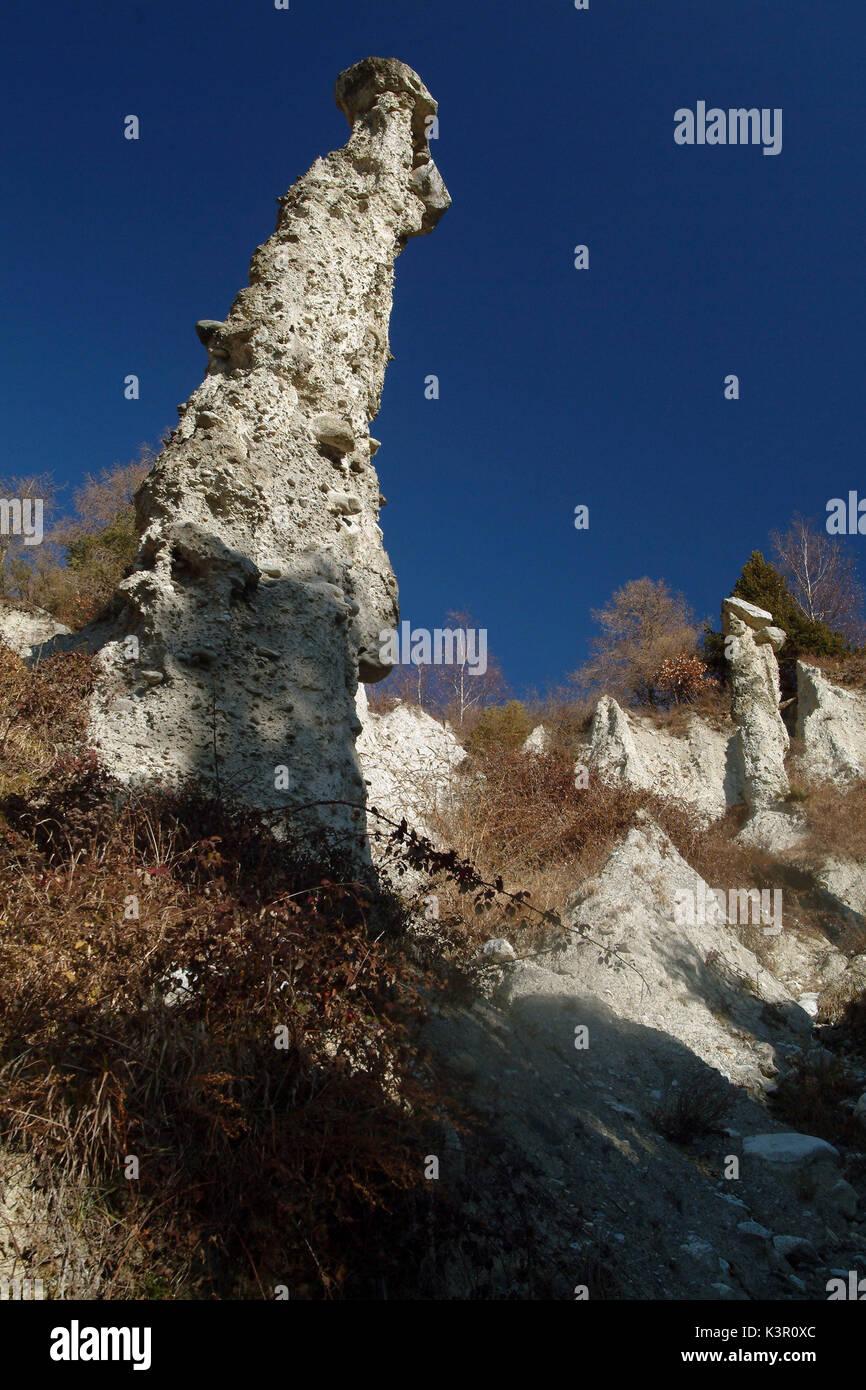 Pirámides de tierra que caracterizan el entorno natural de Postalesio reserva. Superior a 10 metros, que están coronadas por grandes piedras de roca por peso, a veces, de varias toneladas, Valtellina, Lombardía Italia Europa Imagen De Stock