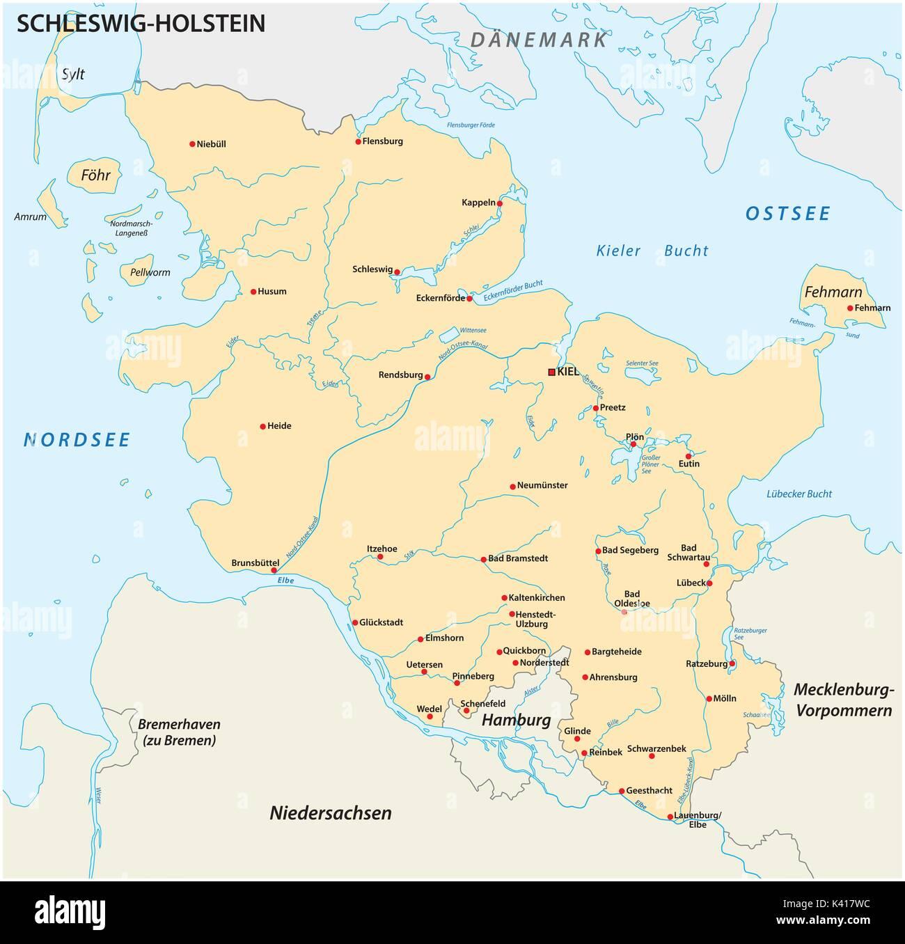 Mapa del estado de Schleswig-Holstein con las ciudades más importantes Ilustración del Vector