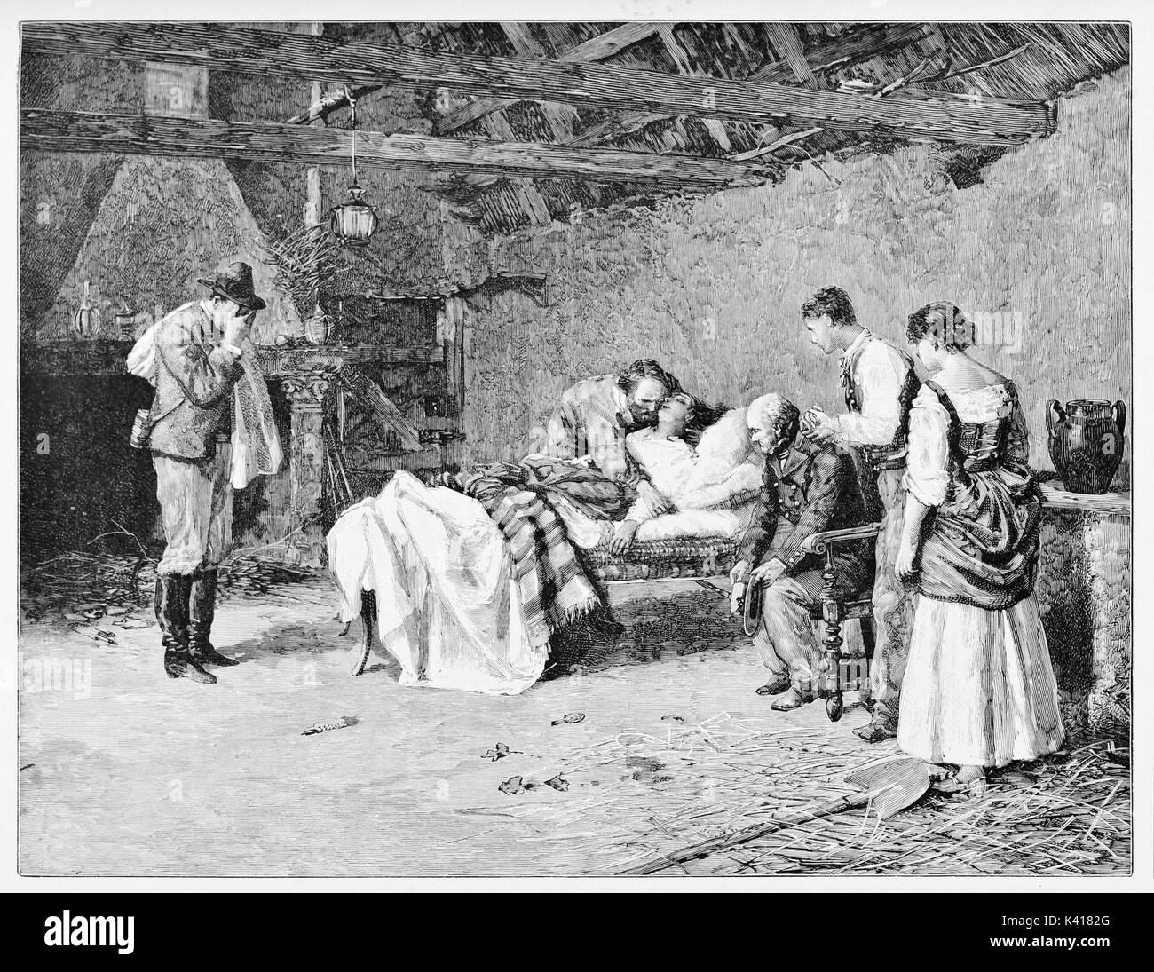 Anciana en la cama morir abrazado por su marido. Anita muerte en Marqués' Guiccioli cortijo con Garibaldi junto a ella. Por E. Matania, sobre Garibaldi e i suoi Tempi, Milán, Italia 1884 Foto de stock
