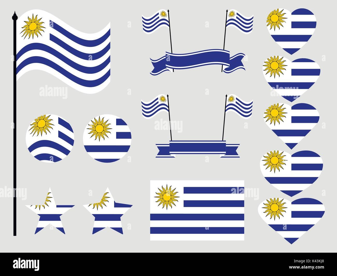 Uruguay Bandera Fija Símbolos Bandera En El Corazón Ilustración