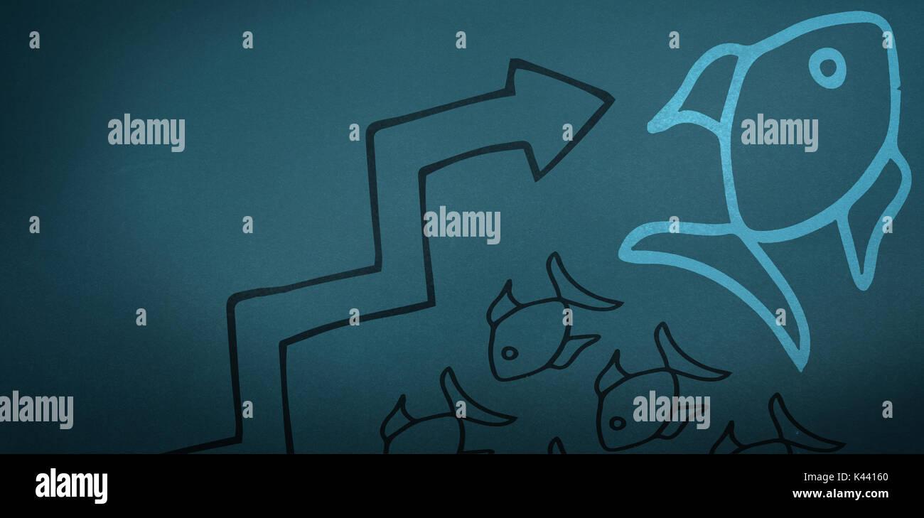 Imagen gráfica de pescado y símbolo de flecha contra teal, fondo azul Imagen De Stock
