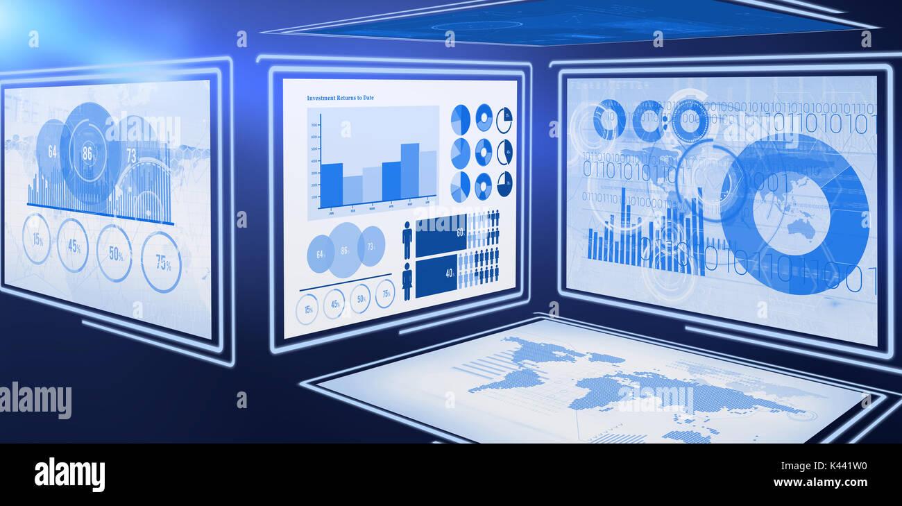 Vector 3d imagen de gráficos de negocios contra el fondo blanco. Imagen De Stock