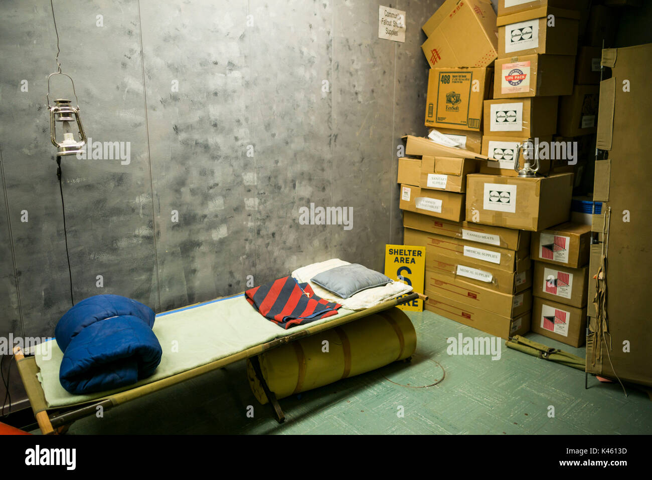 Canadá, Ontario, carpa, el diefenbunker, Museo canadiense de la guerra fría en el bunker subterráneo, cuna militar Imagen De Stock