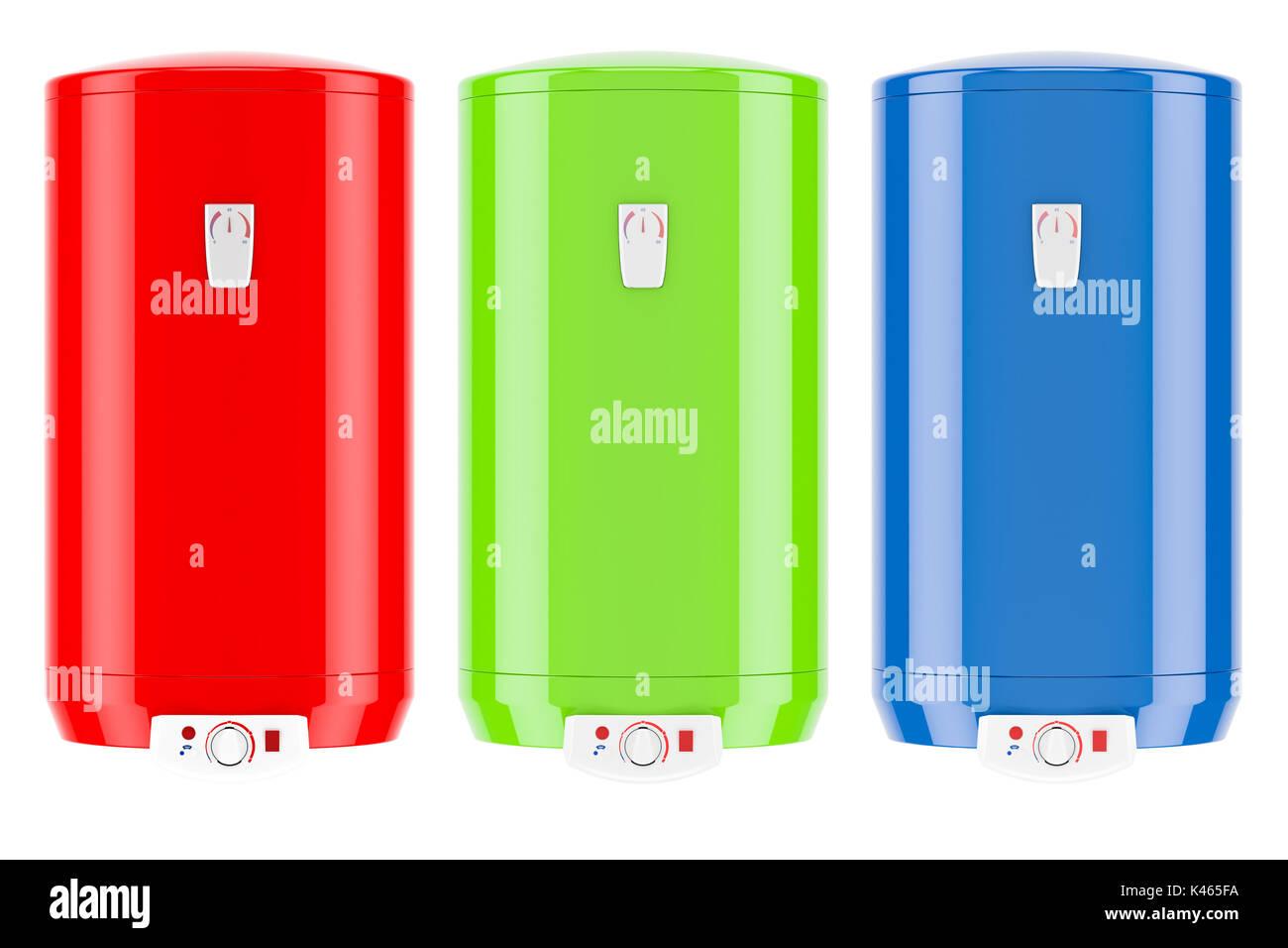 Conjunto de calentadores de agua eléctricos de color o calderas, 3D rendering aislado sobre fondo blanco. Imagen De Stock