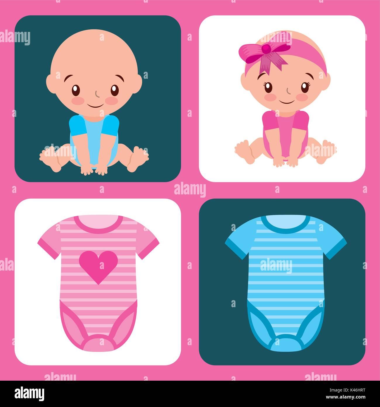 Lindo Juego Para Baby Shower De Nina Y Nino Ropa Ilustracion Del