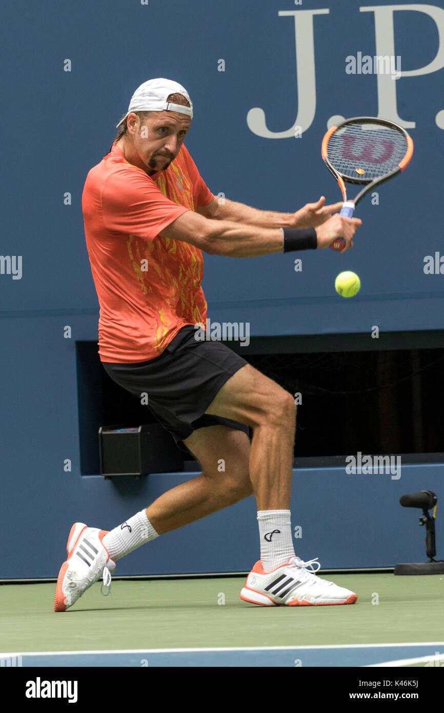 Tennys sandgren (USA) compitiendo en el US Open tenis Campeonato 2017 Imagen De Stock