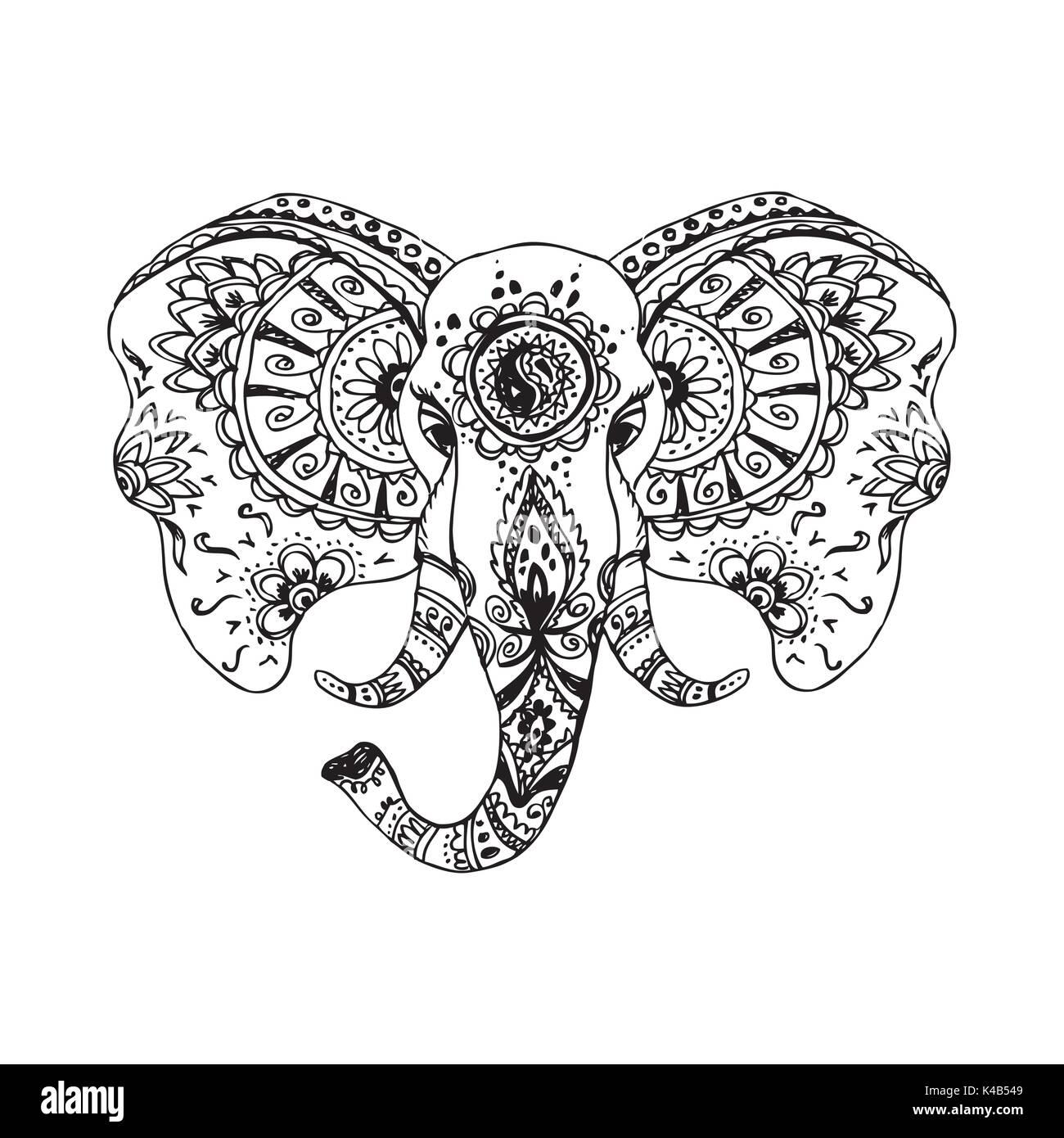 Elephant Indian Style Decorative Vector Imágenes De Stock Elephant