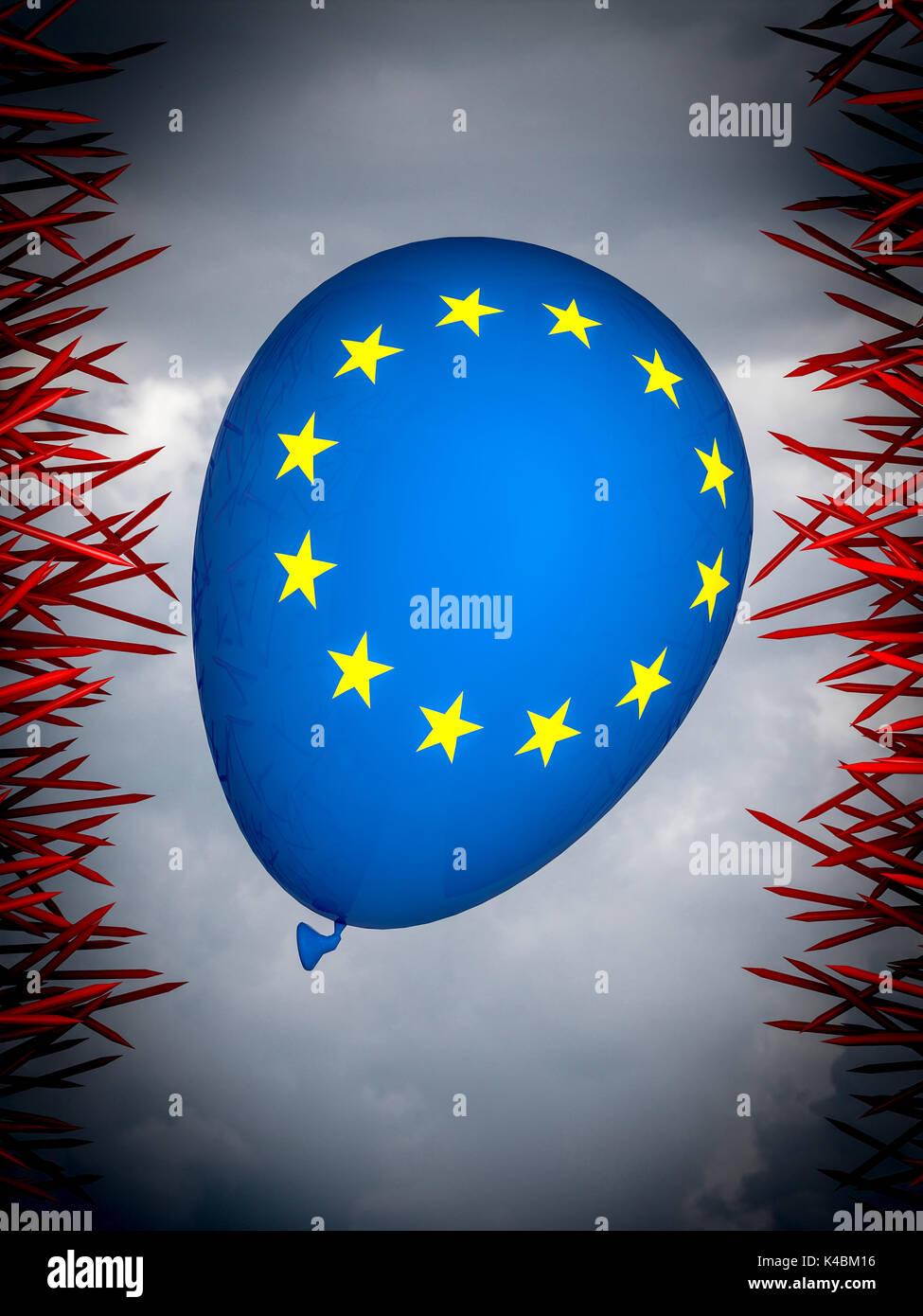 Globo con Europa bandera y uñas rojo 3D rendering imagen Imagen De Stock