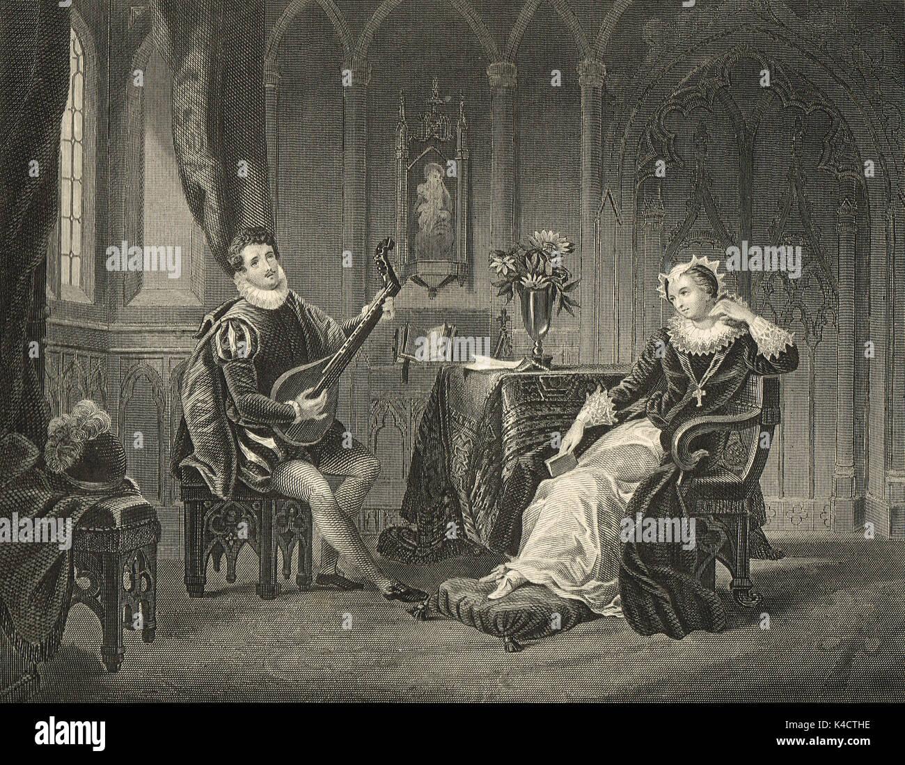 María, Reina de los escoceses y su secretario chatelar Imagen De Stock
