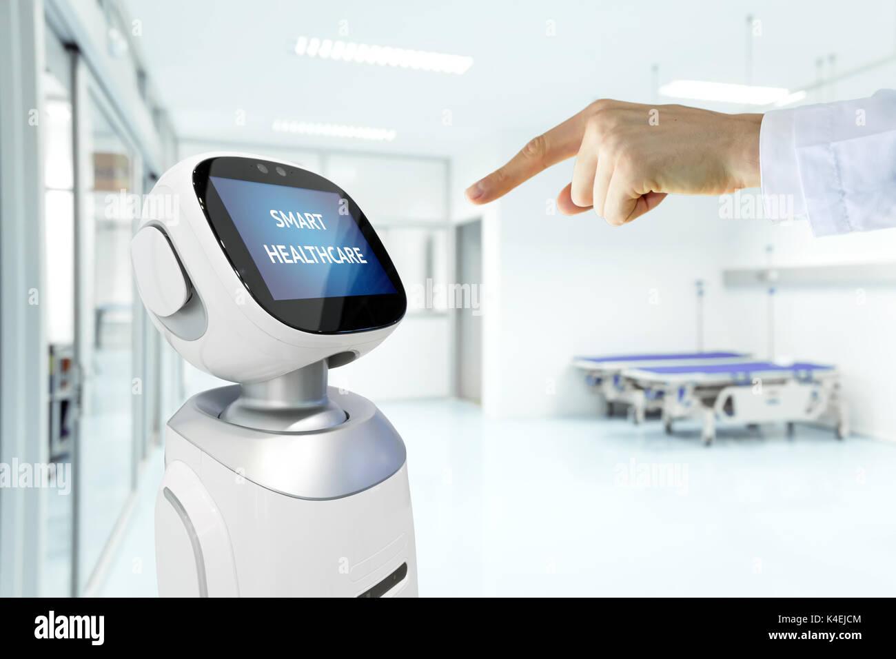 Asesor en tecnología robótica de servicio sanitario , hospital inteligente concepto de inteligencia artificial. Foto de stock