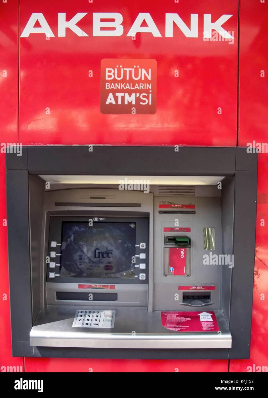 Máquina atm turca, Estambul, Turquía Foto de stock