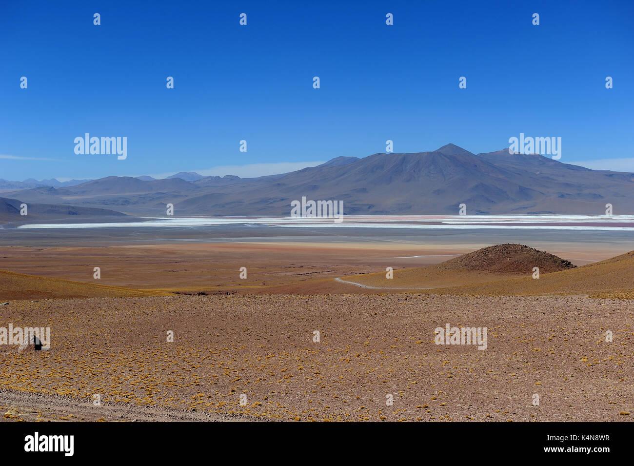 El paisaje desértico del sur de Bolivia con la Laguna Colorada en la distancia Imagen De Stock
