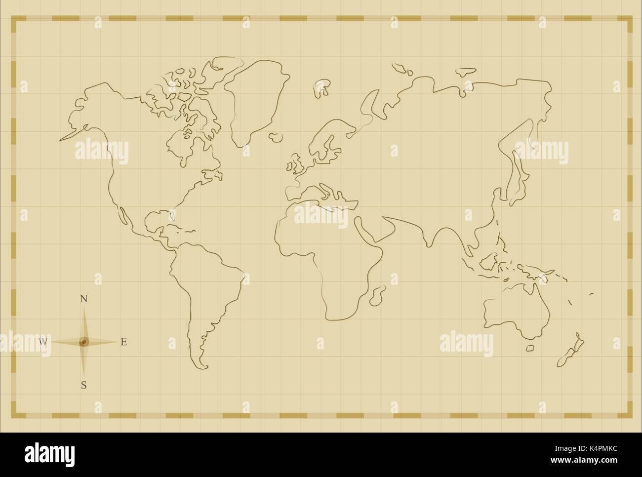 Vintage mapa del mundo ilustración plantilla en antiguo estilo ...