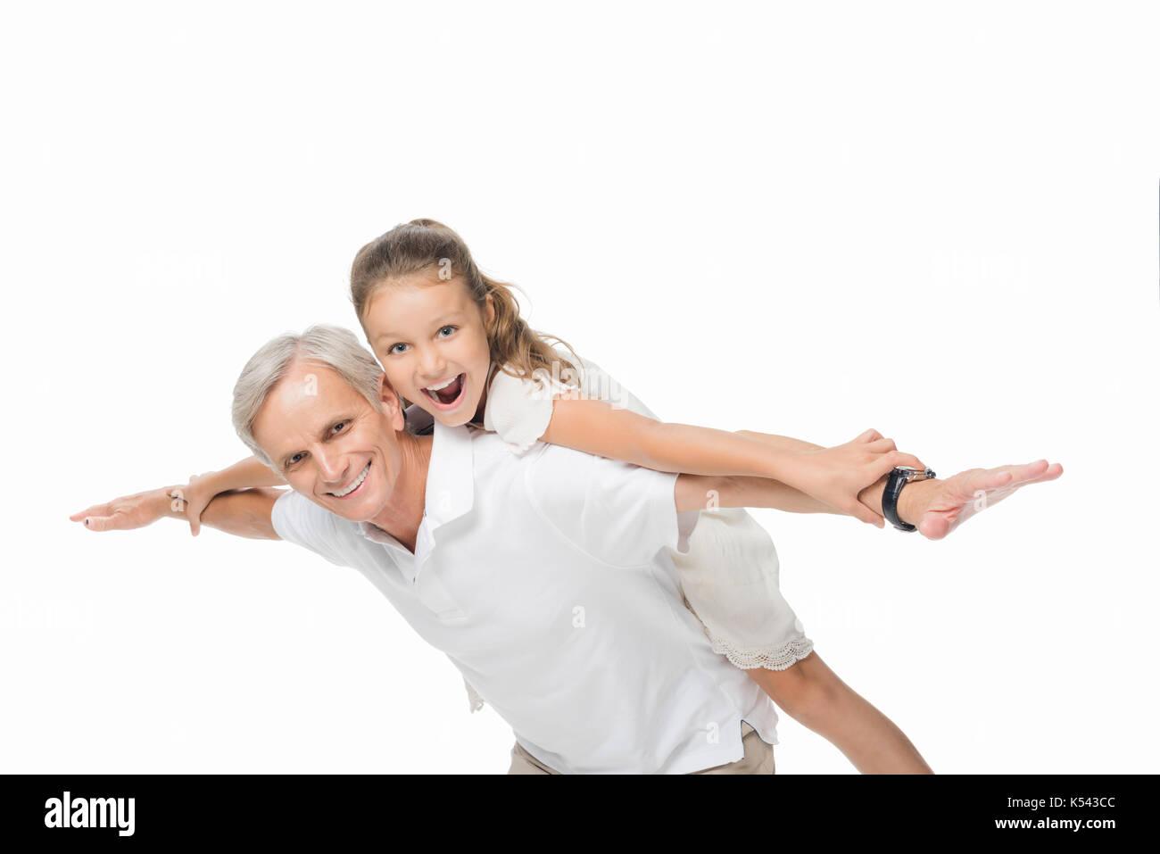 Feliz abuelo con nieto Imagen De Stock