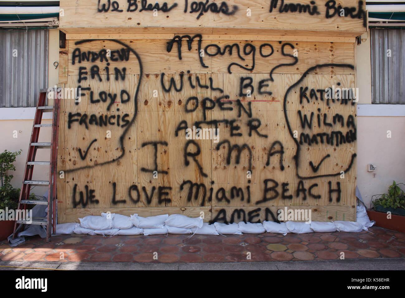 Miami Beach, playas desiertas, pre huracán irma, septiembre 8, 2017 Foto de stock