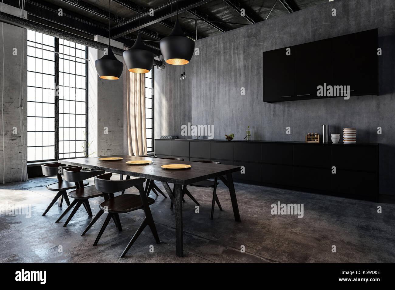 Mesa y sillas de madera en una espaciosa cocina con comedor en loft piso  Imagen De c12cfca09a57