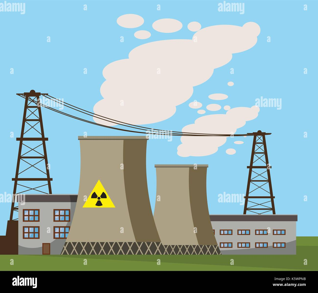 La Planta De Energía Nuclear El Icono De Estilo De Dibujos Animados