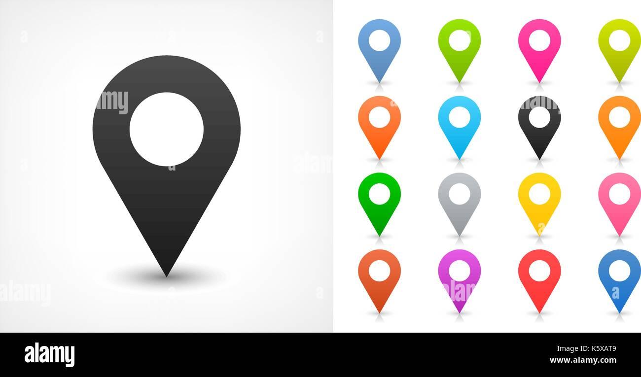 Señal De Localización: Mapa De Ubicación De Señal Pin Icono Con Sombra En El