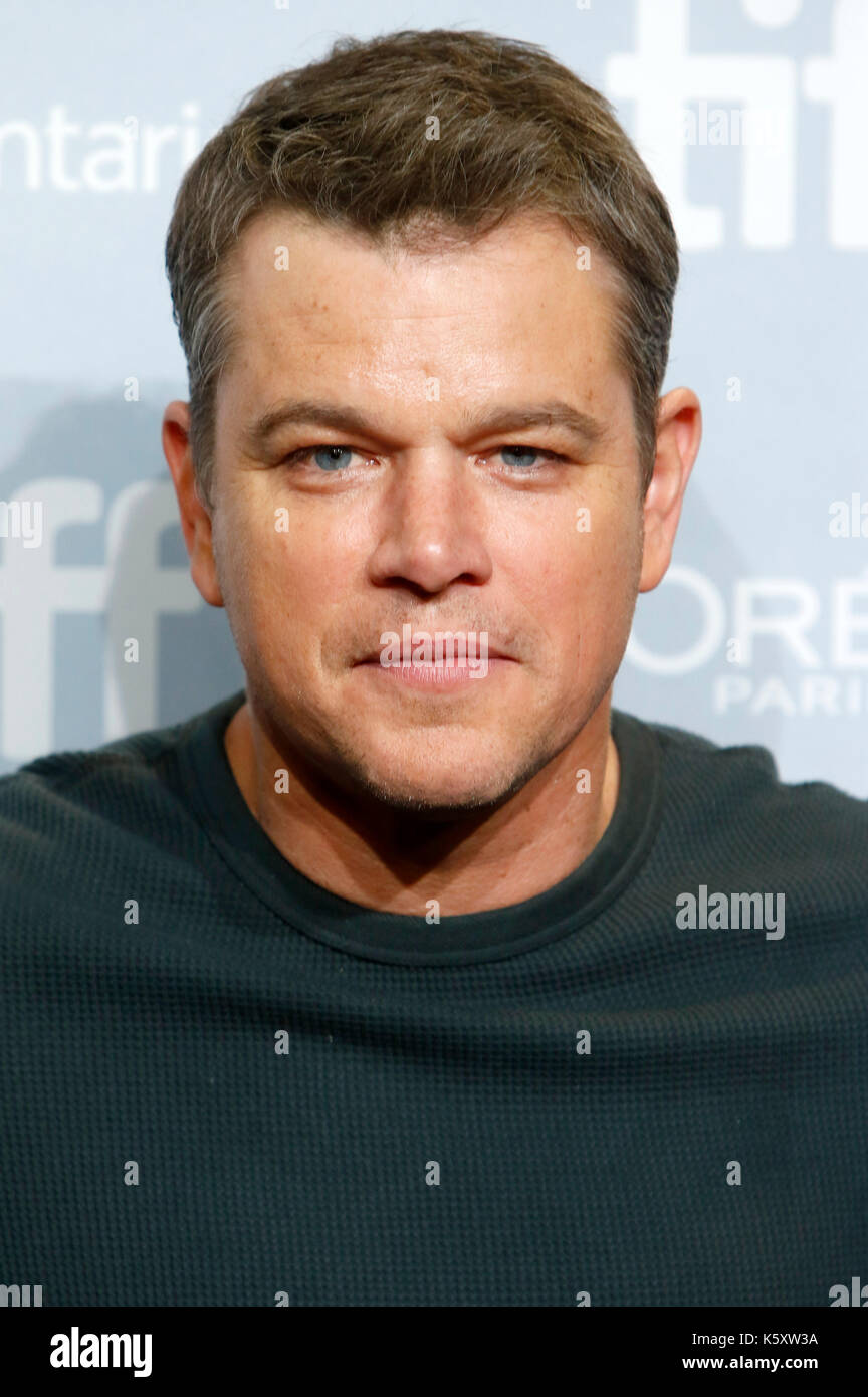 Toronto, Canadá. 10 sep, 2017. Matt Damon durante la 'suburbicon' photocall durante la 42ª edición del festival Foto de stock