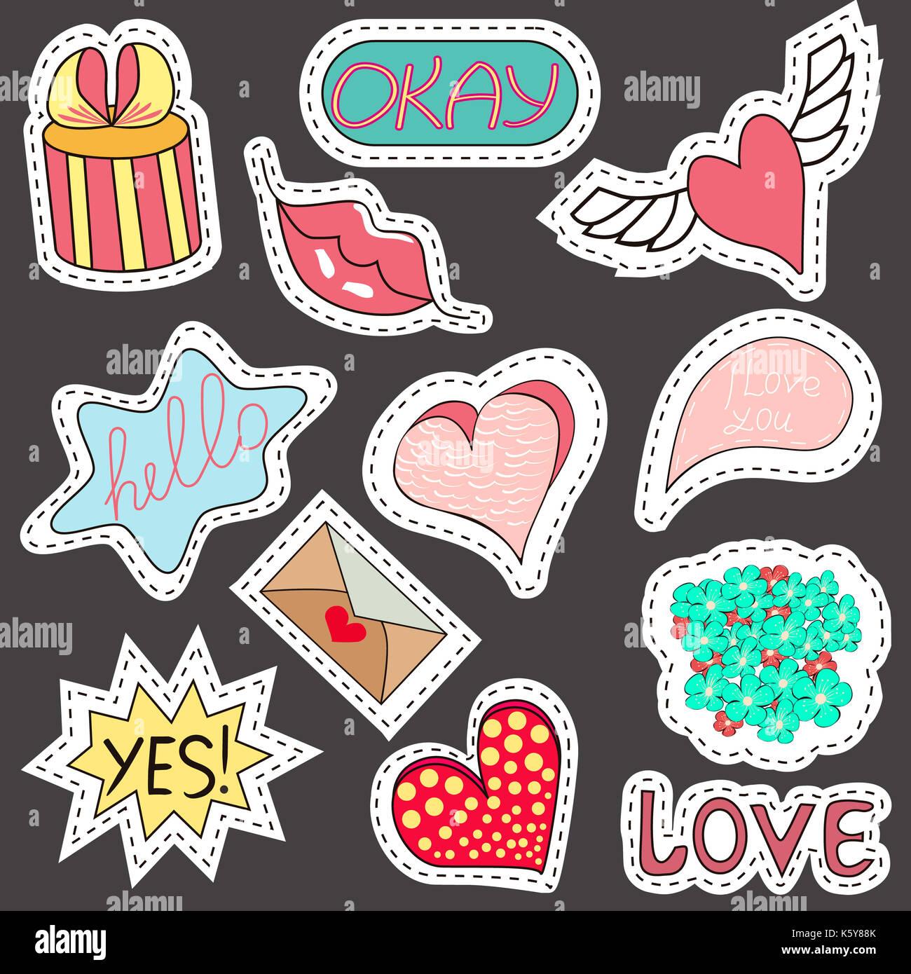 472fe0a256 Comics sketch conjunto de pegatinas con corazones, bocadillos de texto,  texto fresco, amor, relámpagos, labios, anillos gafas de sol