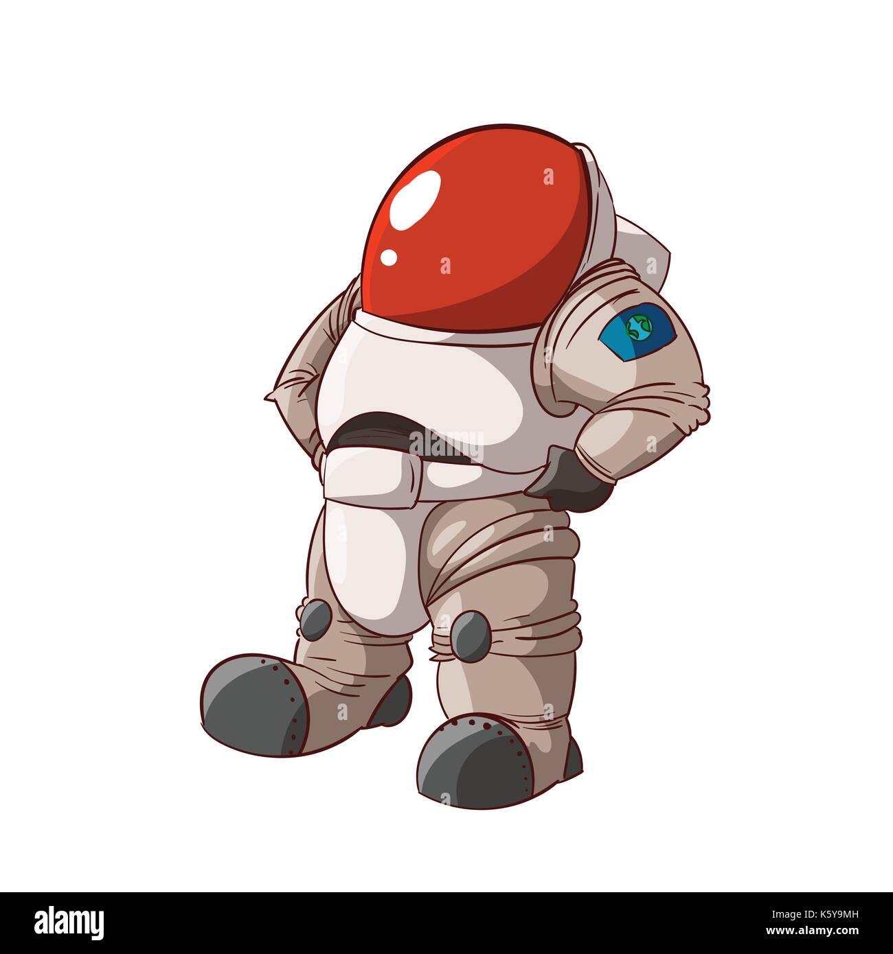 Colorida ilustración vectorial de un miembro de la expedición de dibujos animados, el astronauta o cosmonauta en Ilustración del Vector