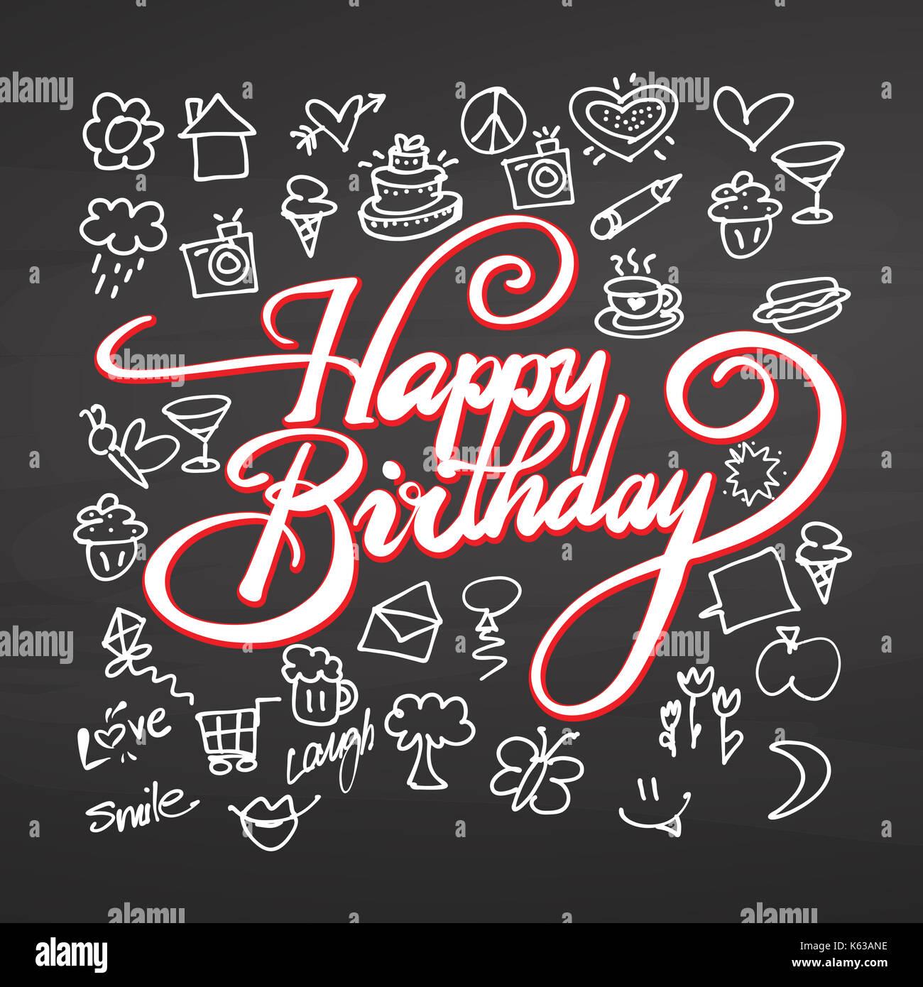 Feliz Cumpleaños Letras Y Garabatos En La Pizarra, Dibujo
