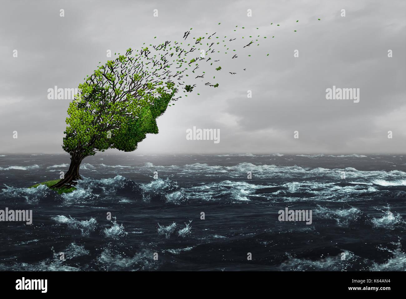 Sobrevivir una tormenta concepto como un árbol destacó maltratadas sopladas por los vientos violentos en las aguas de la inundación como una ansiedad o abuso de metáfora a resistir. Imagen De Stock