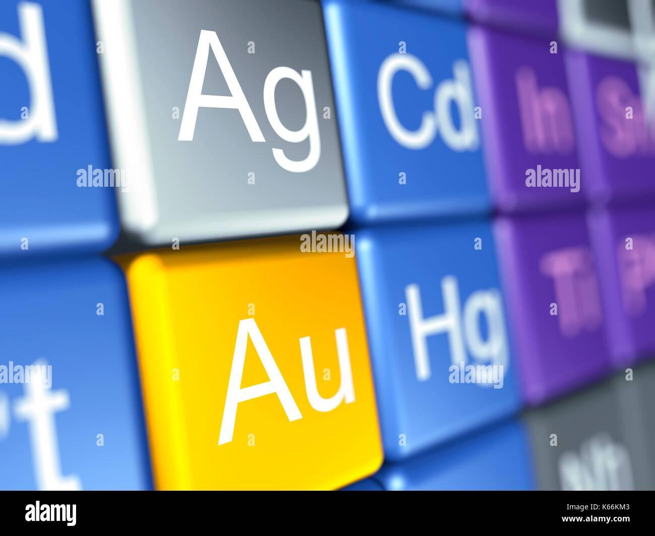 Equipo ilustraciones de un close up de la tabla peridica de los equipo ilustraciones de un close up de la tabla peridica de los elementos qumicos se centr en la plata agargentum y oro auaurum urtaz Image collections
