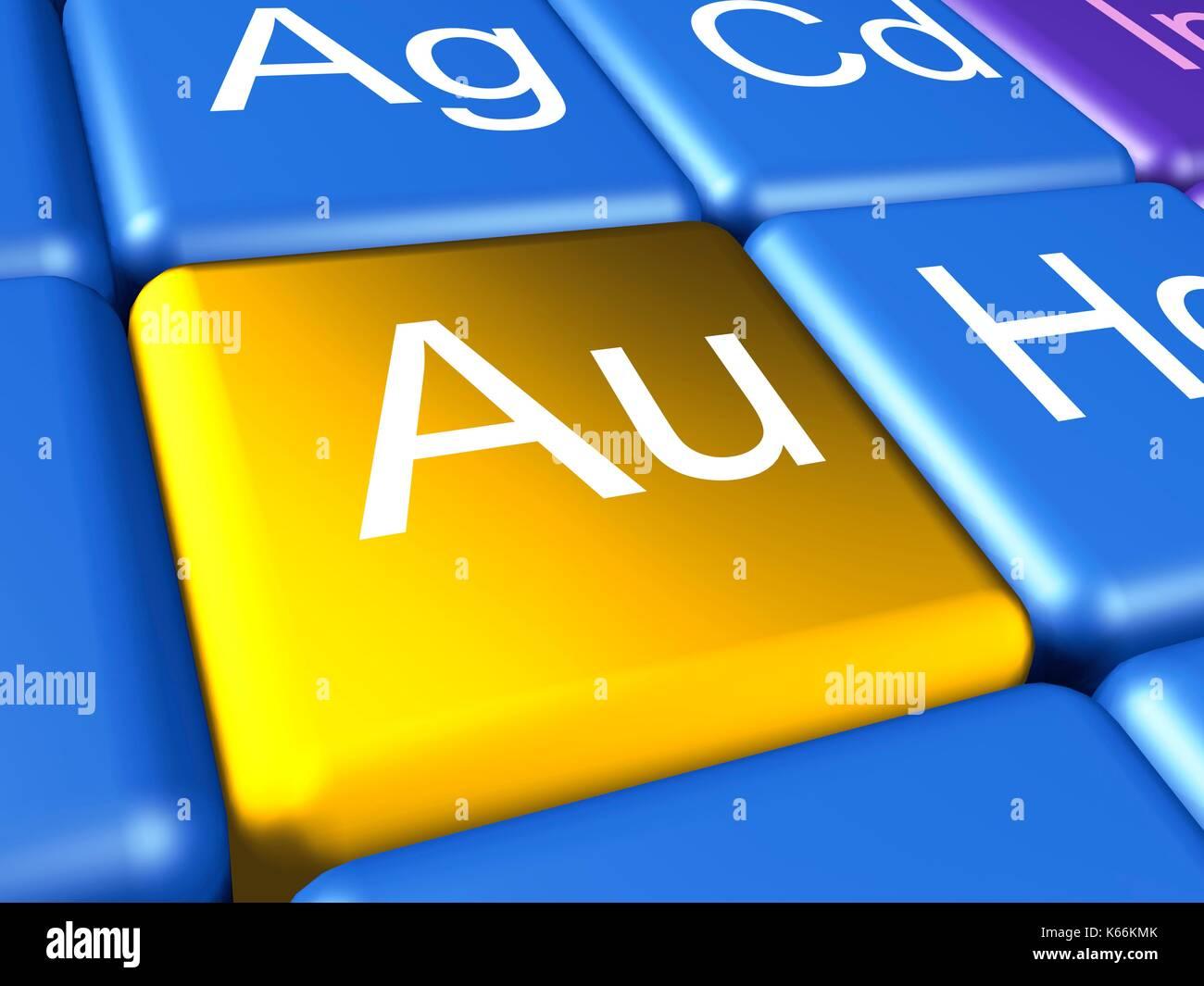 Obra de arte de un ordenador cerca de la tabla peridica se centr obra de arte de un ordenador cerca de la tabla peridica se centr en el elemento qumico oro auaurum urtaz Image collections