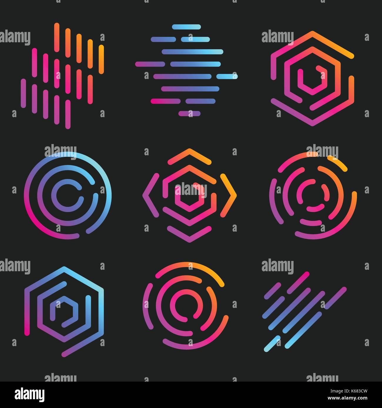 Tubería aislada logotipos arte plantillas logotipos lineales ...