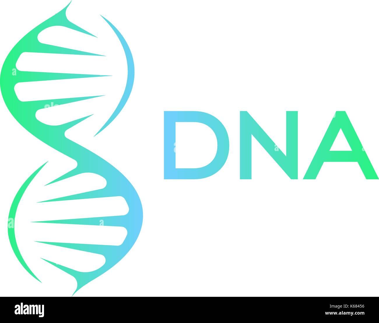 Resumen molécula ADN vector logo. color azul turquesa y ciencia ...