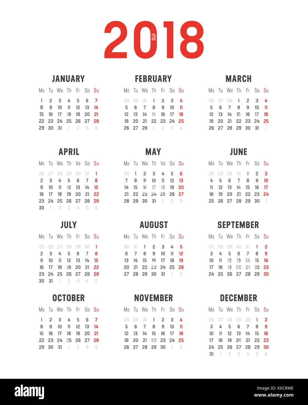 Año 2018 Calendario minimalista, sobre fondo blanco. Plantilla vectorial - semanas empiezan el lunes Imagen De Stock