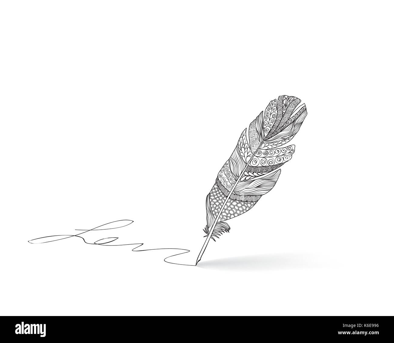 Telas mexicana ornamento de plumas Plumas Escrito caligrafía. literatura  signo retro. Imagen De Stock ebb4d3412d4