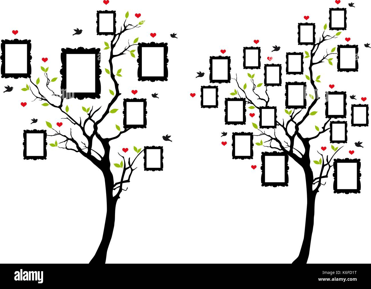 Árbol de familia con los marcos de imagen en blanco, ilustración ...