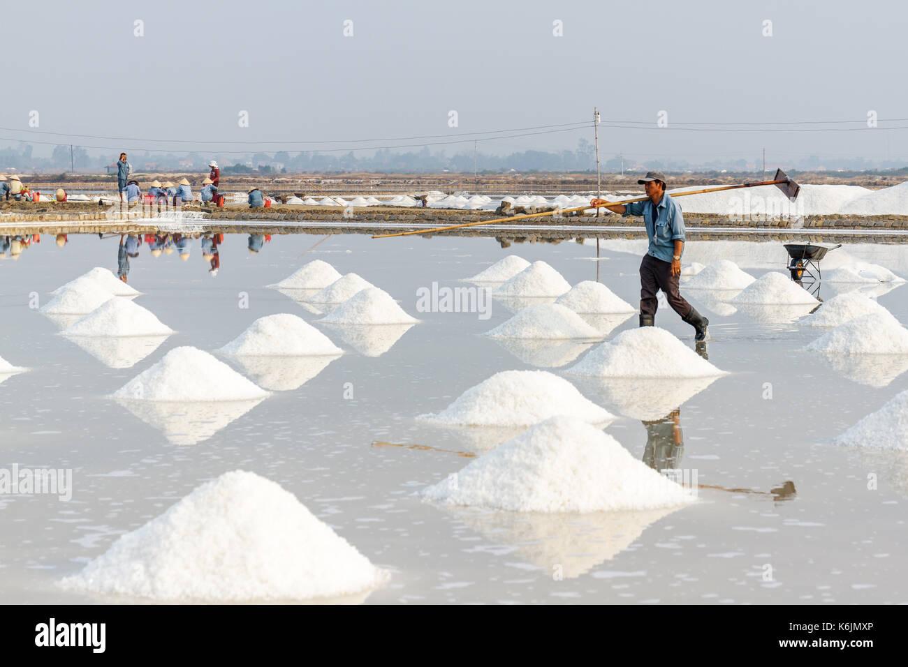 Nha Trang, Vietnam - 4/12/2016: los trabajadores y los montones de sal en el hon khoi sal campos en Nha Trang, Vietnam. Imagen De Stock
