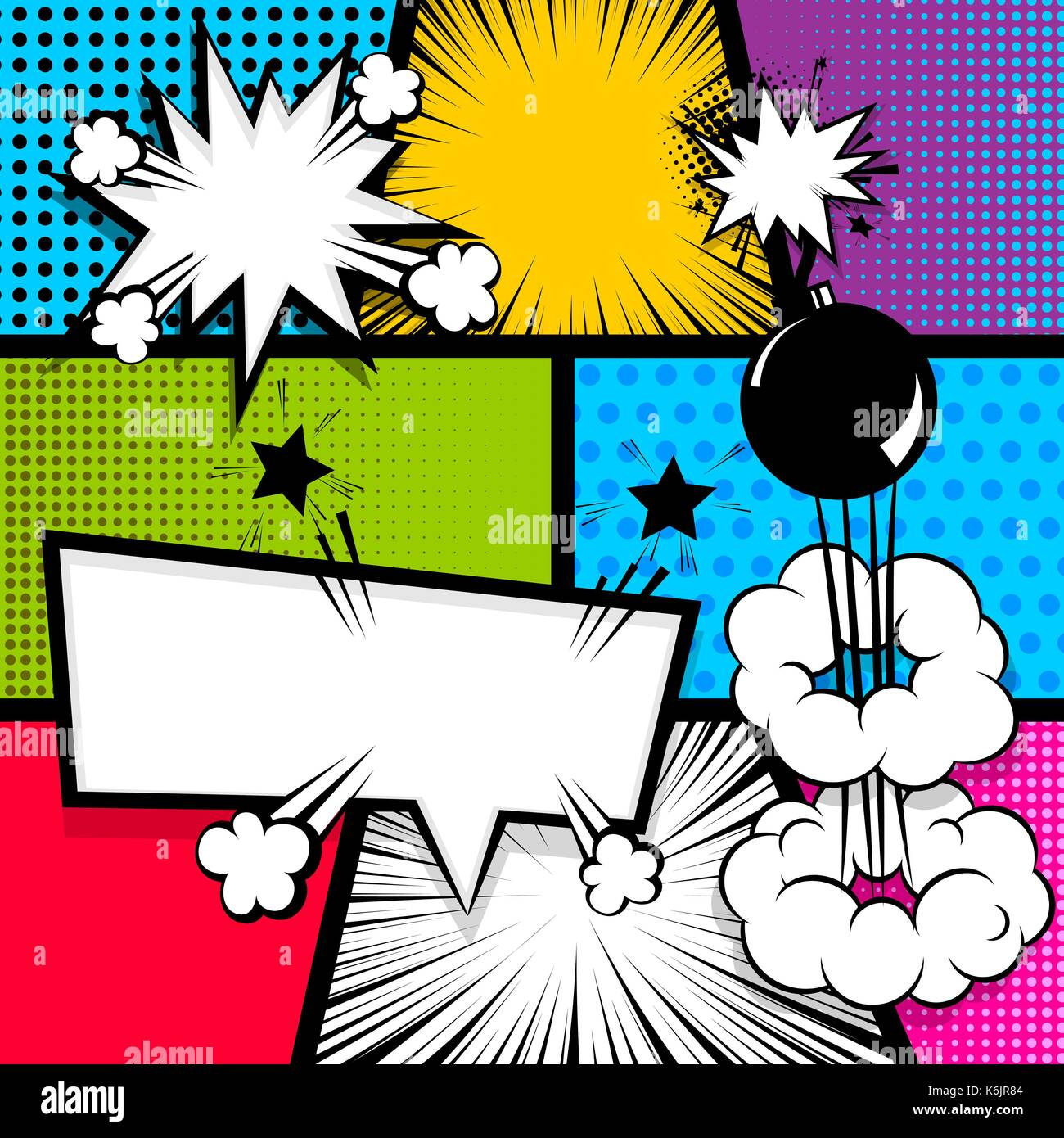 Pop art comics libro la portada de la revista plantilla. cartoon ...
