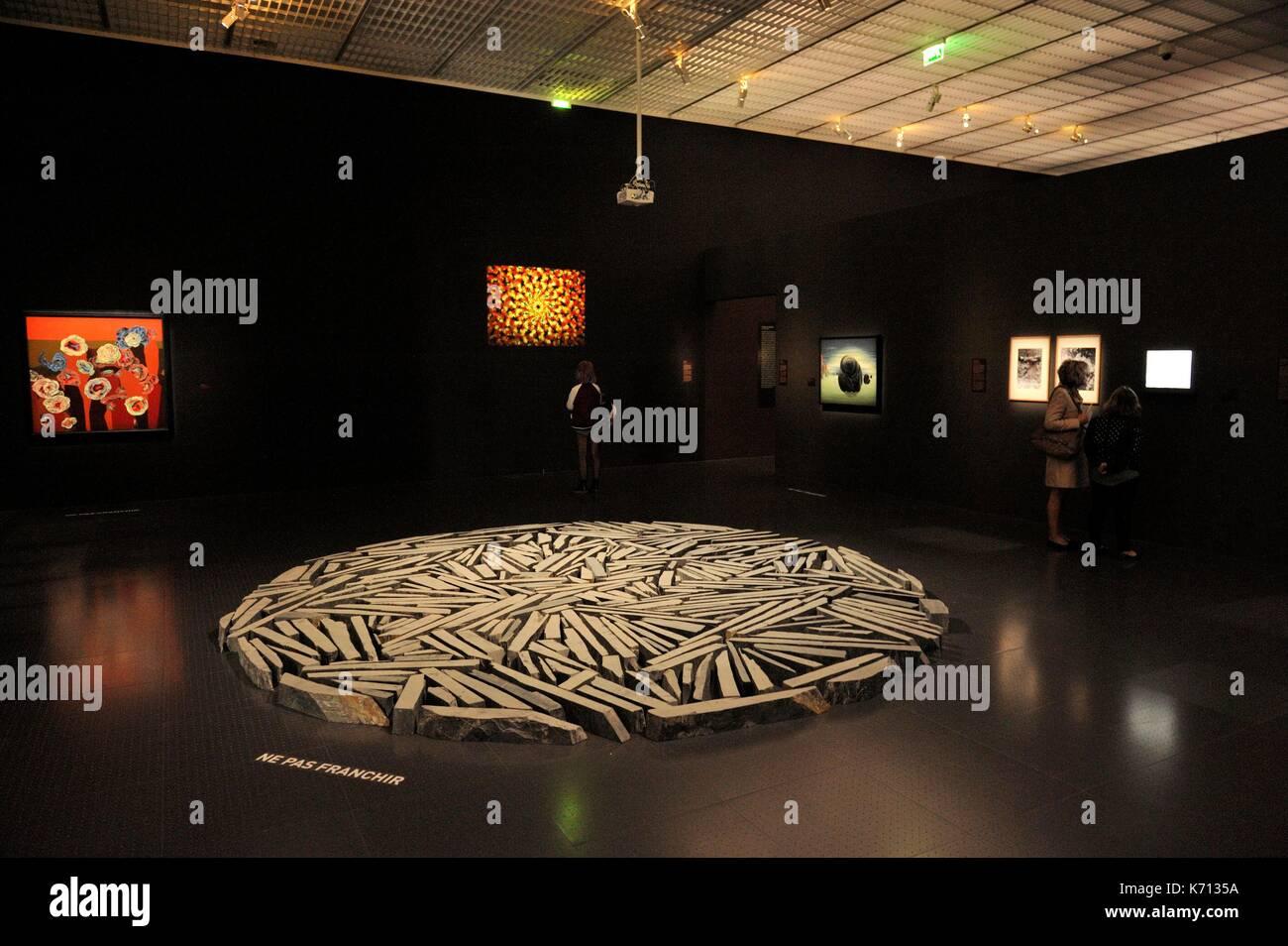 Francia, Moselle, Metz, el Centro Pompidou, el centro de arte diseñado por los arquitectos Shigeru Ban y Jean de Gastines, exposición: Jardin infini de Giverny a la Amazonía Foto de stock